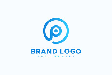 Blue Circular Line Abstract Letter P Logo. Usable for Business and Technology Logos. Flat Vector Logo Design Template Element.