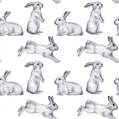 Funny bunnies. Pencil drawing seamless pattern. Design for wallpaper, fabric, textile, paper, packaging, textile for