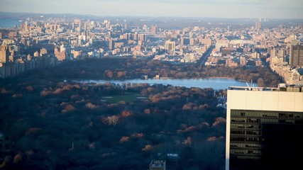 Wall Mural - Aerial view of Central Park at winter sunset, Manhattan, New York City, USA, slow motion