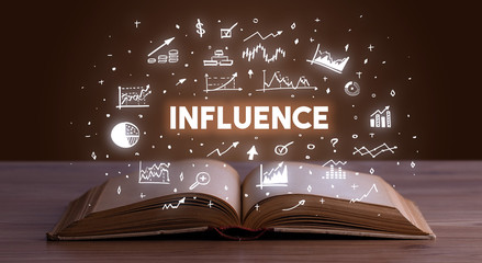 INFLUENCE inscription coming out from an open book, business concept