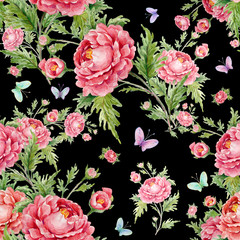 seamless watercolor pattern with roses and butterflies