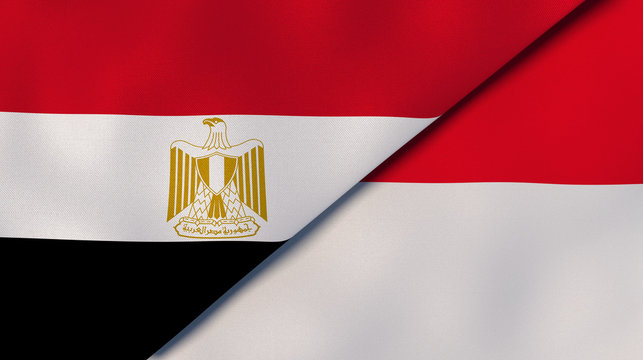 The flags of Egypt and Monaco. News, reportage, business background. 3d illustration