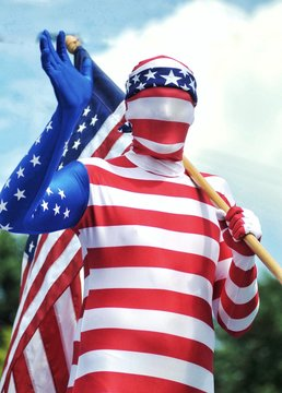 Man With American Flag And Costume