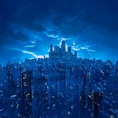Metropolis of the future / 3D illustration of dark futuristic science fiction cyberpunk city under cloudy night sky