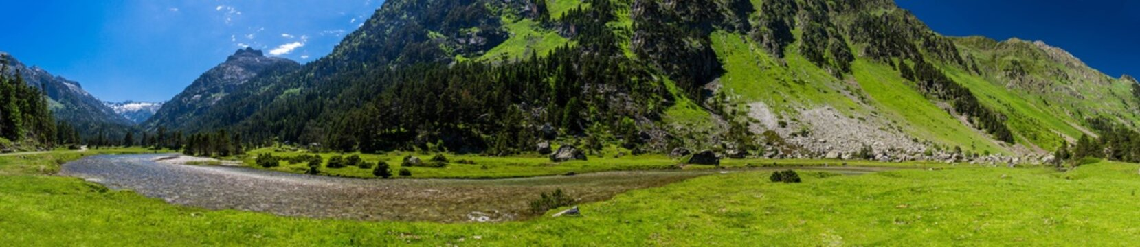 Nice landscape of Marcadau Valley in the French Pyrenees, Trip to Cauterets, France.