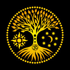 The tree of life with an om / aum/ ohm sign. Orange picture on a black openwork background. Spiritual mystical and environmental symbol. Vector art graphic.