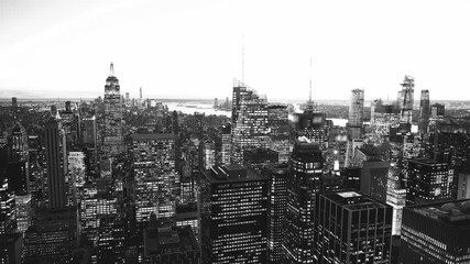Wall Mural - Black and white night aerial view of New York City lights, Manhattan, USA