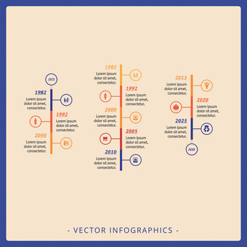 Editable infographic template of three vertical timeline diagrams with icons and sample text, multicolored version
