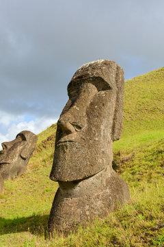 Quarry for stone to make ancient Maoi statues, Rano Raraku, on Rapa Nui, Easter Island
