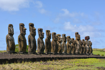 12 Ancient maoi statues at Tongariki, largest collection of erected maoi on Rapa Nui, Easter Island, Chile Wall mural