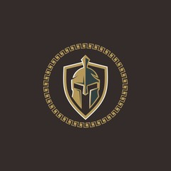 spartan helmet icon for security logo sign symbol sticker design vector on circle shape