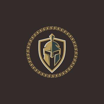 spartan helmet icon for security logo sign symbol sticker design vector on circle shape
