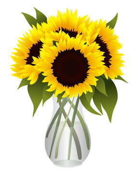 Bouquet of Sunflowers in Glass Vase