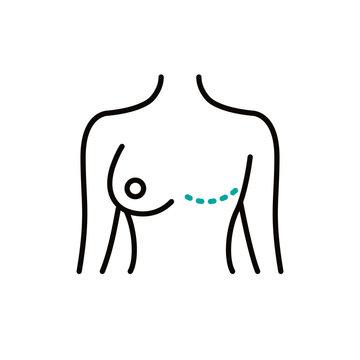 mastectomy line icon, vector illustration