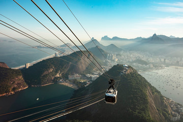 Pao de Acucar mountain with cable car and viewpoint to Copacabana beach and all of Rio de Janeiro, Brazil. Fototapete