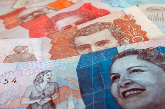 Colombian banknotes of the new edition. Colombian money, paper money, cash. Banknotes of two five ten and twenty thousand pesos from Colombia