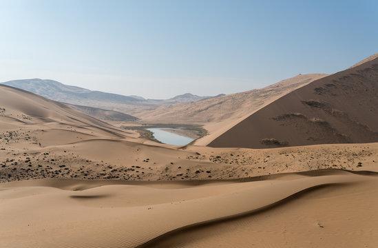 View Of Badain Jaran Desert Against Clear Sky