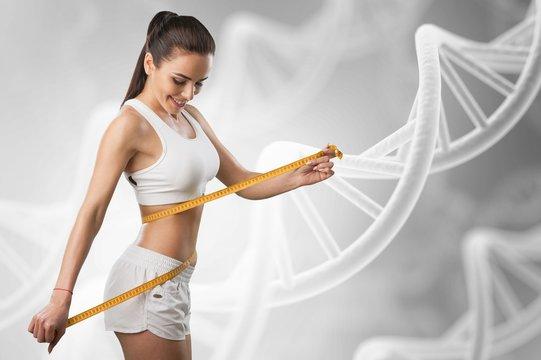 Weight lose concept. Woman lose waist abdomen