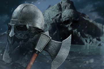 3d illustration of viking axe with helmet on skull cave shore background.