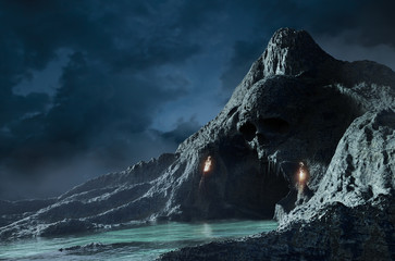 3d render of skeleton cave with torches.