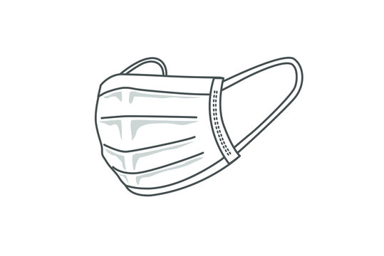 白の不織布マスクのイラスト