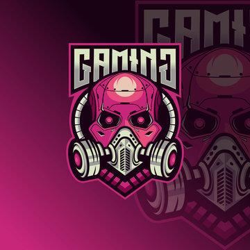 Skull esport logo design inspiration for gaming club. Skull robot esport logo