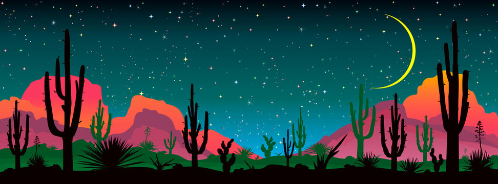 Night starry sky over the mexican desert. Landscape with various cacti against the backdrop of mountains and the night starry sky