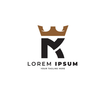 M K crown logo design vector
