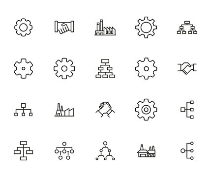 industry line icons set.
