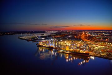 Printed kitchen splashbacks Brown Aerial View of Port of Philadelphia at Night