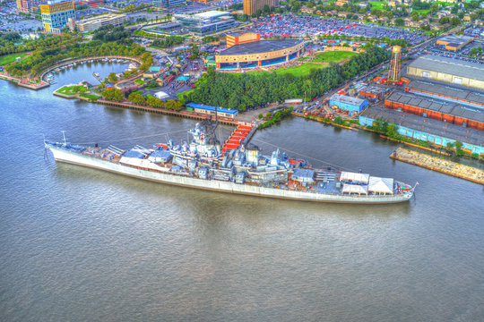 A Decommissioned Battleship on Delaware River in New Jersey