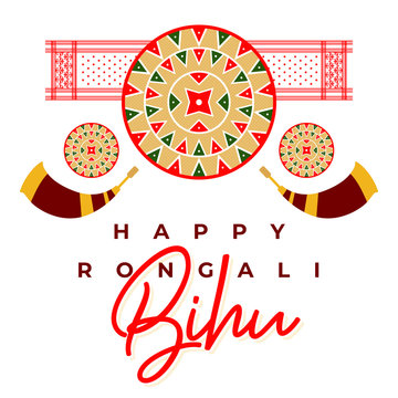 Happy Rongali Bihu FestivalConcept Design. Template for Banner, Icon, Poster, Logo Unit, Label, Web, Symbol, Sign and Mnemonic for Assam, North india, Assamese Traditional Japi, Assamese Culture