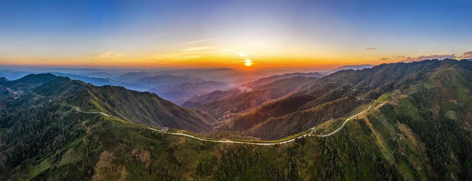 Aerial view of Bac Yen valley from Ta Xua, Bac Yen, Son La, Vietnam, Beautiful sunset on the mountain.
