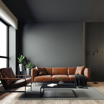 3d render of beautiful interior with dark  gray walls