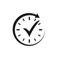 Check mark in clock vector icon