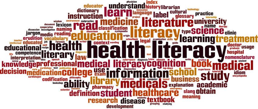 Health literacy word cloud