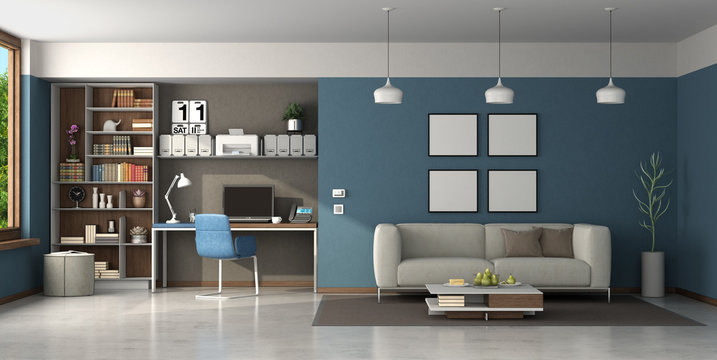 Work at home in a large living room with brown and blue walls