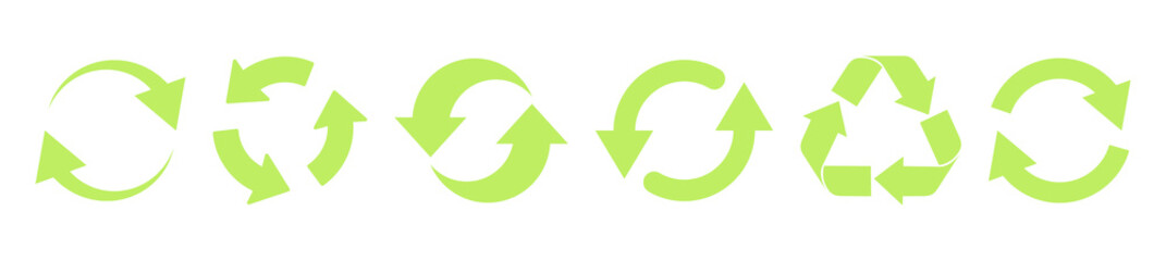 Recycle green vector icons. Recycle icons isolated on white background VECTOR EPS 10
