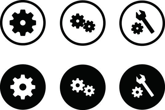 設定や歯車のアイコンのセット/イラスト/ビジネス