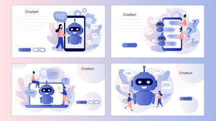 Chatbot concept. AI robot assistant, customer support. Screen template for mobile smart phone, landing page, template, ui, web, mobile app, poster, banner, flyer. Modern flat cartoon style. Vector