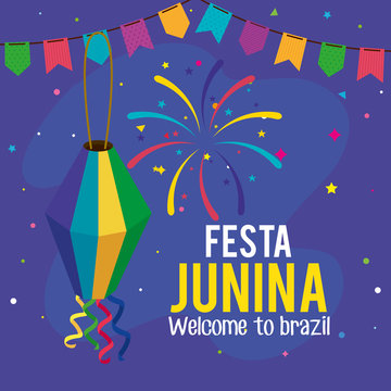 fiesta junina poster with lantern and garlands hanging design
