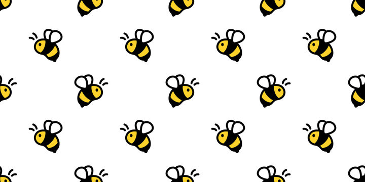 honey bee seamless pattern vector honeycomb scarf isolated cartoon repeat background tile wallpaper illustration doodle textile design