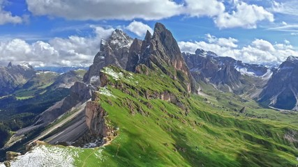 Wall Mural - Areal view of Seceda with last snow in Dolomites