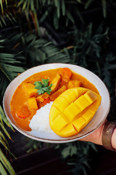 Tasty Mango chicken curry with rice