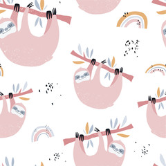 Vector hand-drawn colored seamless repeating childish pattern with cute sloths on the branches and rainbow in the Scandinavian style on a white background. Cute baby animal. Baby print with sloths
