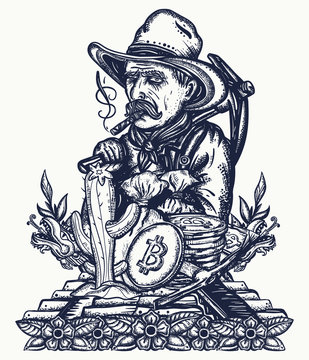 Gold digger. Cryptocurrency. Mining of bitcoins. Old cowboy in hat. Ancient treasures of Maya civilization. Golden rush concept. Wild West tattoo and t-shirt design. Western art