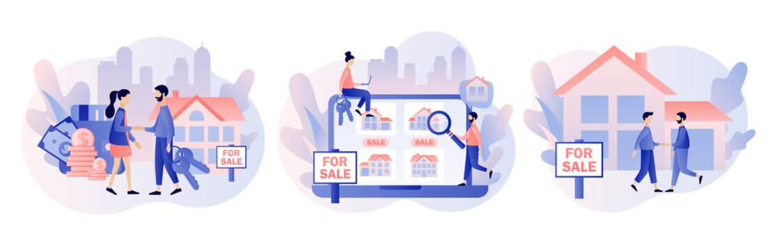 House for sale. Real estate business concept with houses. Tiny real estate agent or broker shaking hands with people buying house. Modern flat cartoon style. Vector illustration on white background