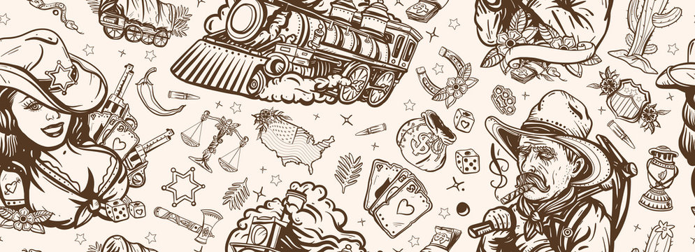 Wild West seamless pattern. Western background. Old school tattoo style. Cowboy girl, gold digger, covered wagon, steam train, golden horseshoe, USA map. American pioneers art
