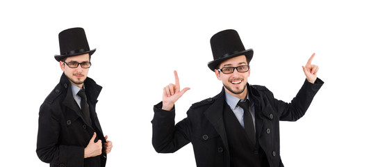 Wall Mural - Young man in coat and hat isolated on white