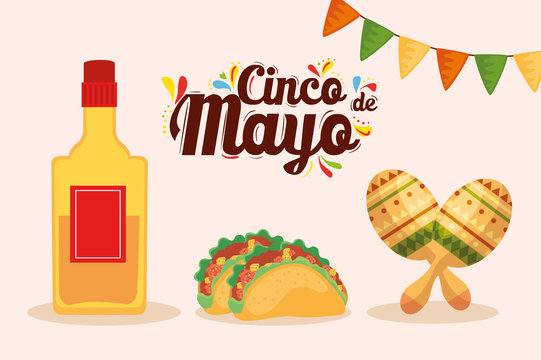 Mexican tequila bottle tacos and maracas design, Cinco de mayo mexico culture tourism landmark latin and party theme Vector illustration